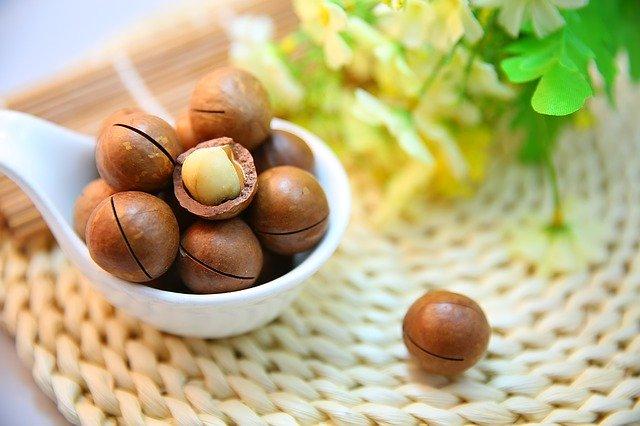makadamové orechy v škrupine naložené v bielej keramickej miske